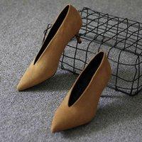 Dress Shoes Salto alto feminino estilo pop star, sapato de salto fino com ponta fina em v profundo F2XB