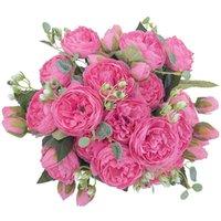 Dekoracyjne kwiaty Wieńce Sztuczne Fałszywe Rośliny Jedwab Róża Kwiat Układy Ślubne Bukiety Dekoracje Plastikowy Kwiatowy Stół Centerpi