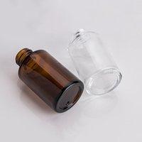 30ML زجاج زجاجة مسطحة الكتف متجمد / شفافة / العنبر الزجاج جولة الضروري النفط مصل زجاجة مع الزجاج القطارة التجميل جوهر 172 S2