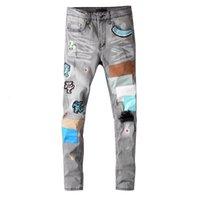 Homens jeans stree estilo calças moda patch calças retas homens calças homens casual jenas zipper longas jeans 2020 novo atacado