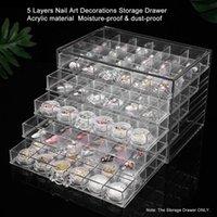 5 طبقات شفافة درج التخزين الاكريليك لأظافر الفن عرض مجوهرات ديكورات التجميل 120 شبكات المنظمون صناديق