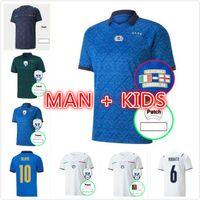 Itália Jerseys de futebol 2021 Italia National Team Camisa de Futebol Verratti Imóvel Chiesa 21 22 Mens + Kids Kit