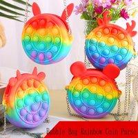 Fidget Toys Halloween Push Bubble Bag Rainbow Coin Purse Silicone Messenger Music Press Unzip Toy