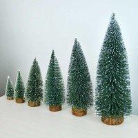 Prodotti lanciati Tiny Bottle Brush Trees Decor Decorazioni natalizie Villaggio vacanze Miniature Putz Casa Accessori