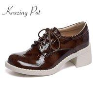 Robe chaussures krazing pot véritable cuir rond talons hauts ronds rétro mode style jeune femme dame quotidienne usure loisirs femmes femmes pompes l39