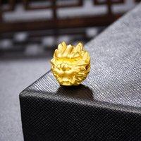 기타 단단한 순수한 24K 3D 옐로우 골드 펜던트 드래곤 그림 구슬 14mm 1.3-1.4g