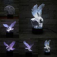 Ночные огни 5 Различные летающие орел 3D светодиодные лампы новинка USB светлая спальня дома декор удивительный визуализация Иллюзия подарок Luminari