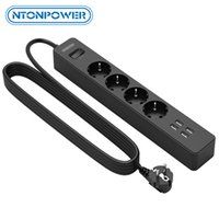 NTONPOWER USB Power Strip with 3 Meter Cord Surge Protector for Home 4 AC EU Plug Extension Socket Network Filter
