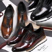 Berluti el yapımı deri sneaker ayakkabı hızlı parça scritto en kaliteli erkek rahat hakiki nakış klasik eğitmenler sevgilisi sneakers ile bo