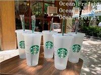 Starbucks Mermaid Dea 24oz / 710ml tazze di plastica Tumbler riutilizzabile trasparente nero bevendo piatto fondo pilastro formato coperchio tazze di paglia merci