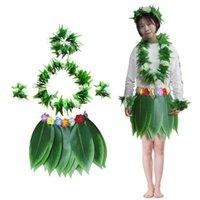 Party Decoration 5pcs set Hawaiian Artificial Tropical Leaves Flowers Skirt Hula Boho Hawaii Dance Grass Wreath Beach Holiday Costume