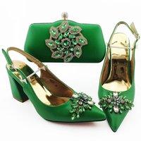 Jurk schoenen prachtige groene vrouwen match tas set met kristal stijl Afrikaanse pompen en handtas voor 18b127, hiel 9cm
