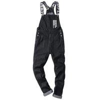 Ginzous erkek kot slogan harfleri baskılı siyah denim önlüğü tulumlar moda slim fit tulumlar artı boyutu pantolon