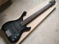 무료 배송 WA 5 Strings베이스 기타, 블랙베이스, 불타는 메이플 베니어, 24 프렛, 몸을 통한 5 조각 목, 크롬 버튼