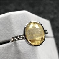 Cluster Rings Natural Gold Rutilated Quartz Ring Jewelry For Woman Man Crystal 12x10mm Oval Beads Silver Stone Adjustable