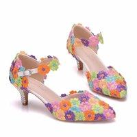 Kleid Schuhe Königin Kristalline Hochzeit Hausschuhe Zwei-Zoll-bunte Spitze-Schuhe Damenpumpe Thin für Mary Janes Flip-Flop-Party Uske