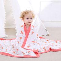 Four Layer 70% Bamboo 30% Cotton Muslin Baby Blanket Newborn Swaddling Super Comfy Bedding Blankets Swaddle Wrap Bath Towel 210317