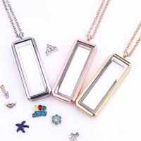 Mixte 10pcs / lot vertical rectangle de charme floating charme laminéfragile salon magnétique verre meublage collier femme cadeaux de Noël