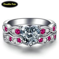 Wedding Rings Sweet And Romantic Engagement Ring Set For Women Inlaid Heart-shaped Zircon Crystal Jewelry Making DWYG017