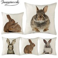Cushion Decorative Pillow Fuwatacchi Little Pattern Cushion Covers Animal Printed Cover Throw Cases 45X45cm Sofa Chair Decoration