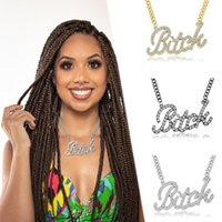 Chains Crystal Rhinestone Necklace For Women Big Bitch Word Pendant Chunky Link Chain Urban Bling Friend Friendship BFF Gift