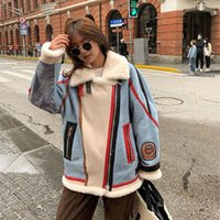 Women's Fur & Faux 2021 Winter Down Jacket GENUINE LEATHER Merino Sheep Coat Women Denim Motorcycle Embroidered Mid-Length Parkas