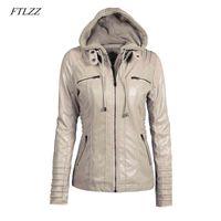 FTLZES PLUS Размер 7xL Женщины с капюшоном из искусственной кожи из искусственной кожи PU мотоцикл съемный повседневный панк верхняя одежда