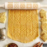 Navidad madera estampado rodillo pasta fondant masa vintage patrón grabado rodillo palo horneado herramienta de pastelería para hornear accesorios