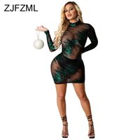 Sheer maille Patchwork Patchwork Party Club Robes Femmes Sexy Mock Col À Manches longues à manches longues à manches longues Robe de bandage skinny automne
