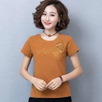 Women's T-Shirt Shintimes Diamonds Vintage T Shirt Women 2021 Summer Flower Mesh Hollow Cotton Clothes Short Sleeve Plus Size Tees Femme