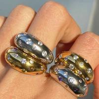 Циркон Камень набор купольных коренастые кольца для женщин Gold Open Deisgner Glitter Ювелирные изделия модный оптом