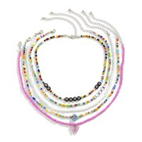 Yamog Women Acrylic Butterfly Letter Beaded Necklaces Multi Layer Mixed Color Clavicle Chain European Vacation Beach Party Love Necklace Jewelry Accessories