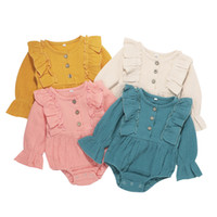 Baby Girls Rompers 4 Colors Cotton Linen Long Sleeve Rompers...