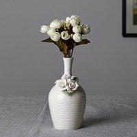 Vases Nordic Whorl Flower Ceramic Vase Home Decoration Modern Art Plant Holder Desk Hydroponics Device Room Decor
