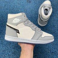 Air Jordan 1 AJ1 Dior 2021 Hotsale 남성 여성 정통 1 높은 OG 농구 신발 남성 여성 1s 늑대 회색 항해 광자가 먼지 화이트 1S 농구 신발 크기 36-45