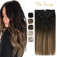 VeSunny Clip In Human Hair Extensions Ombre Blonde Colors Seamless 120g 7pcs Double Weft pins Soft Smooth
