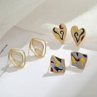 S925 Sier Aguja Aguja Pintura al óleo de las mujeres Pendientes de amor Pendientes Contraste Color Simple EARPLIP 63
