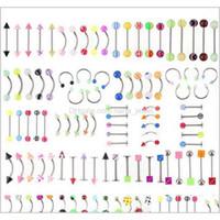 Atacado promoção 110 pcs modelos mistos / cores corporal jóias conjunto resina sobrancelha nobado lábio lábio nariz piercing bar anéis 4tei5 hel f0xrr