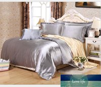 A B double-sided Silky Soft Bedding bedspread set 4pcs Solid color Imitated Silk Satin duvet cover bed fitted sheet pillowcses1
