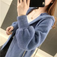 Women 2020 Autumn Winter New Imitation Mink Cashmere Cardigan Coat Female Long Sleeve Hooded Korean Knitted Sweaters Outwear
