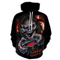 Men's Hoodies & Sweatshirts Fashion 3D Skull Graphic Horror Print Sweatshirt Hoodie Autumn And Spring Male Hooded Pullover Men Sportswear 4X