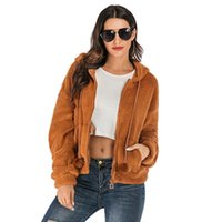 Women's Wool & Blends Fashion Long Sleeve Zip Up Faux Shearling Shaggy Coats Hooded Jacket With Pockets Warm Winter Fall Clothes For Women