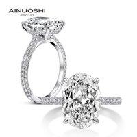 Ainuoshi S925 Стерлинговый Sier Женская Кольцо Роскошь 5 Яйцо Sona Diamond MJB720