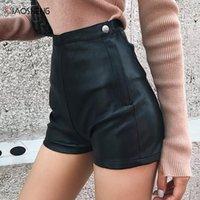 Pantalon court Femmes Jupe en similicuir Mini Jupes féminines noires à taille haute pour femmes Sexy Sumex Fashion