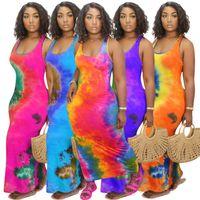 Women Long Dress Designer Solid Color Tie Dye Short Sleeve Casual Skirt Sexy U Neck Big Swing Printed Sleeveless Maxi Dresses