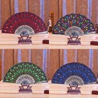 Chinesischer klassischer Tanzklapper Fan-Party Favorie Elegante bestickte Blume Pfau Muster Pailletten weibliche Kunststoff-Handheld-Fans GIF 4829 Q2