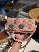 women shoulder bags 2021 auutmn Fashion Ladies crossbody bag Famous Luxury Designer Classic Pleated High-quality solid Leather Suede Gem chain Baguette size:24*12cm