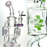 10 인치 높이 더블 흡연 물 담뱃대 DAB 조작 스핀 프로펠러 Perc 파란색 녹색 보라색 머리 유리 봉유 장비 14mm 그릇 재활용품