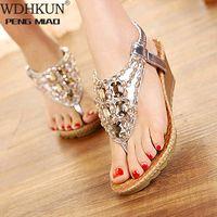 Sandali classici Donne scarpe sandali a cuneo per le donne flip flop cristallo strass boemia spiaggia signore scarpa stoccata nuda stoccata da sposa f4qh #