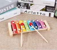 Children's Wooden Oito Tom Hand-Batendo Piano Educação Instrumento Musical Bebê Brinquedos 1-3 Anos Instrumento de Bater